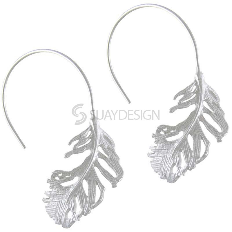 Women's Silver Feather Circle Earrings