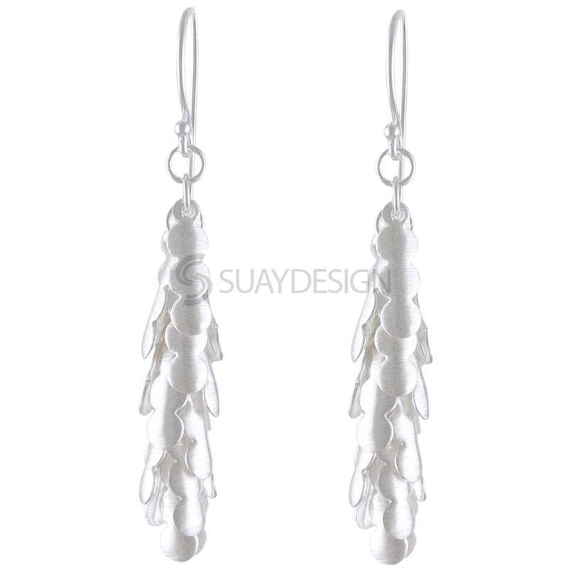 Women's Silver Wave Drop Earrings