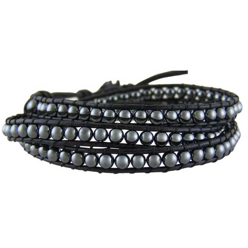 Women's Yukata Hematite Leather Bracelet