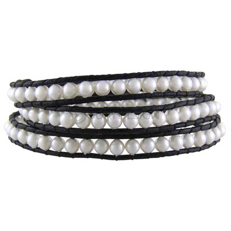 Women's Yukata Pearl Leather Bracelet