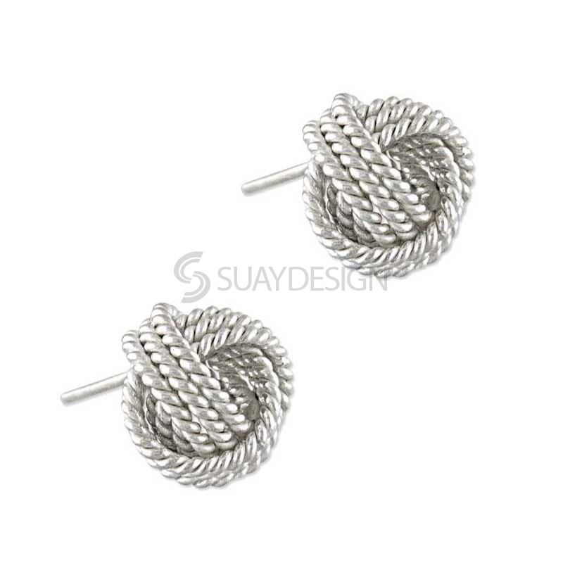 Women's Mini Silver Knot Earrings