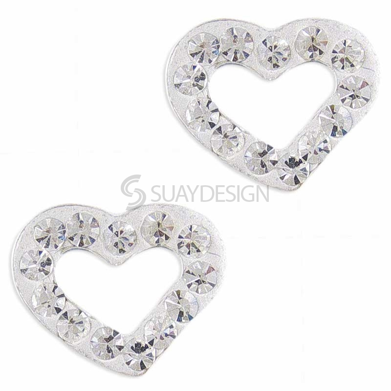 Women's Sparkly Loveheart Silver Earrings