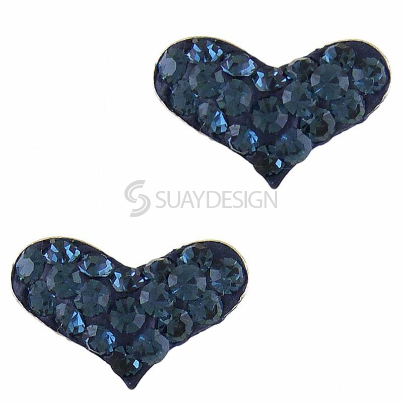 Women's Silver Sparkly Blue Heart Earrings