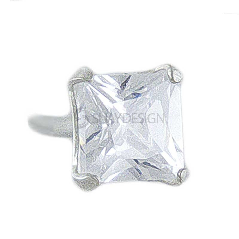 4mm Silver CZ Princess Cut Earring
