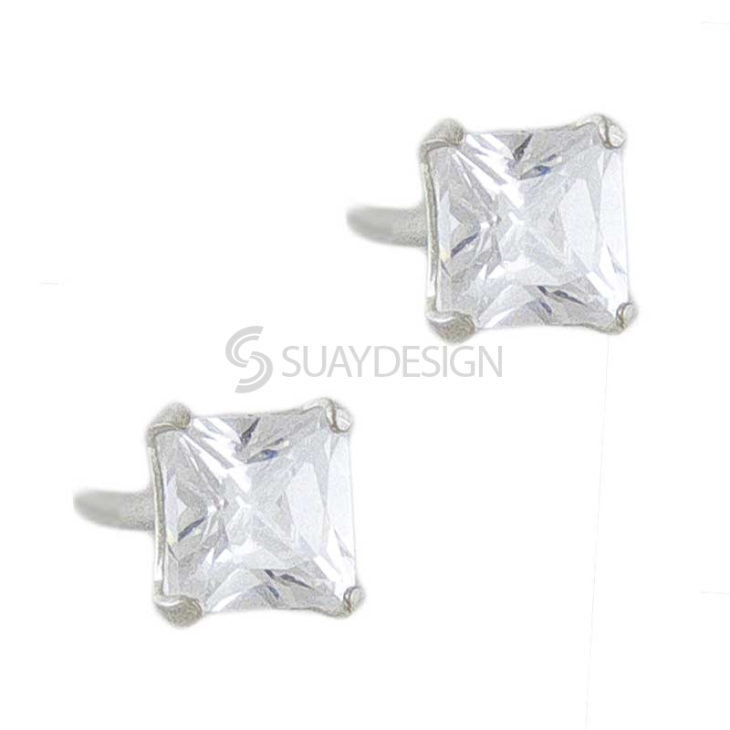 4mm Silver Cubic Zirconia Princess Cut Earrings