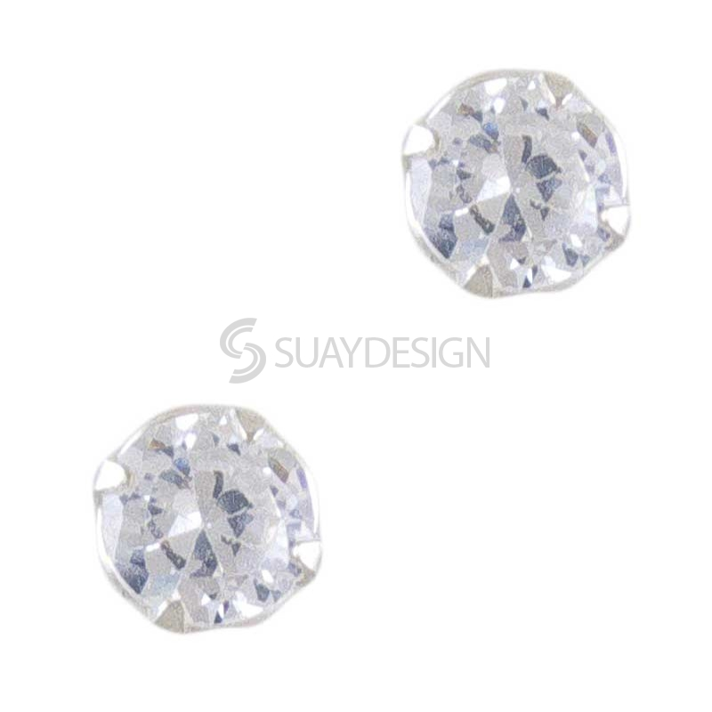 Women's 4mm Silver Cubic Zirconia Solitaire Earrings