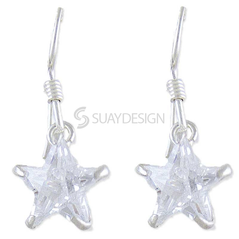 Silver Vibrance Star Earrings