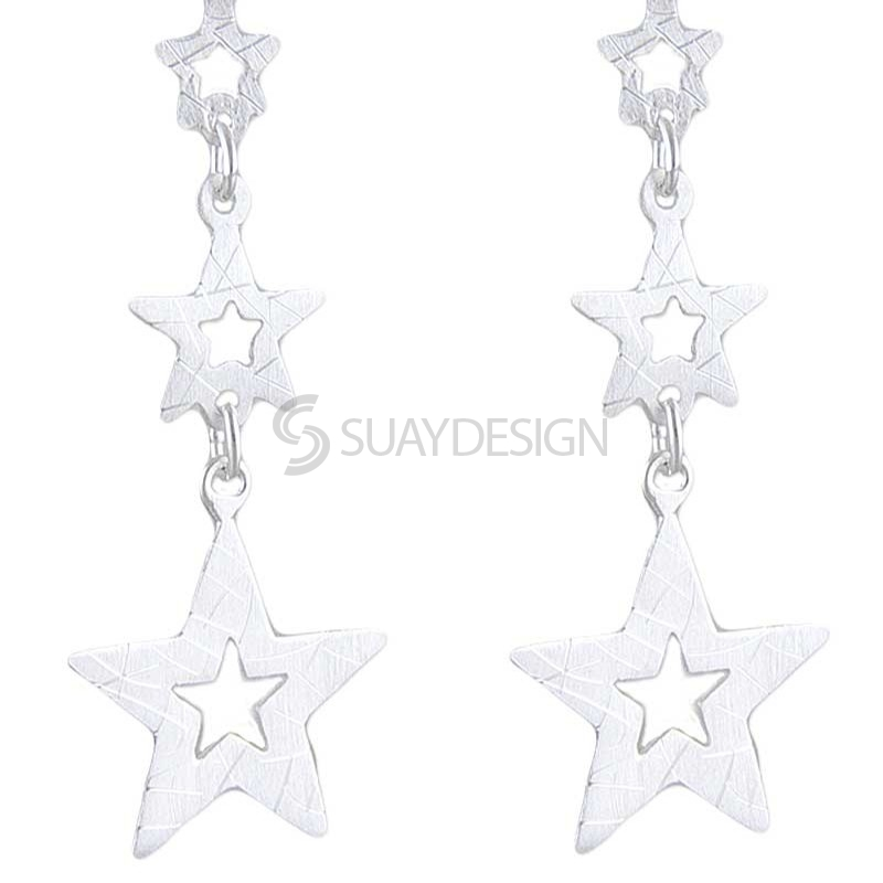 Women's Silver Star Cluster Earrings