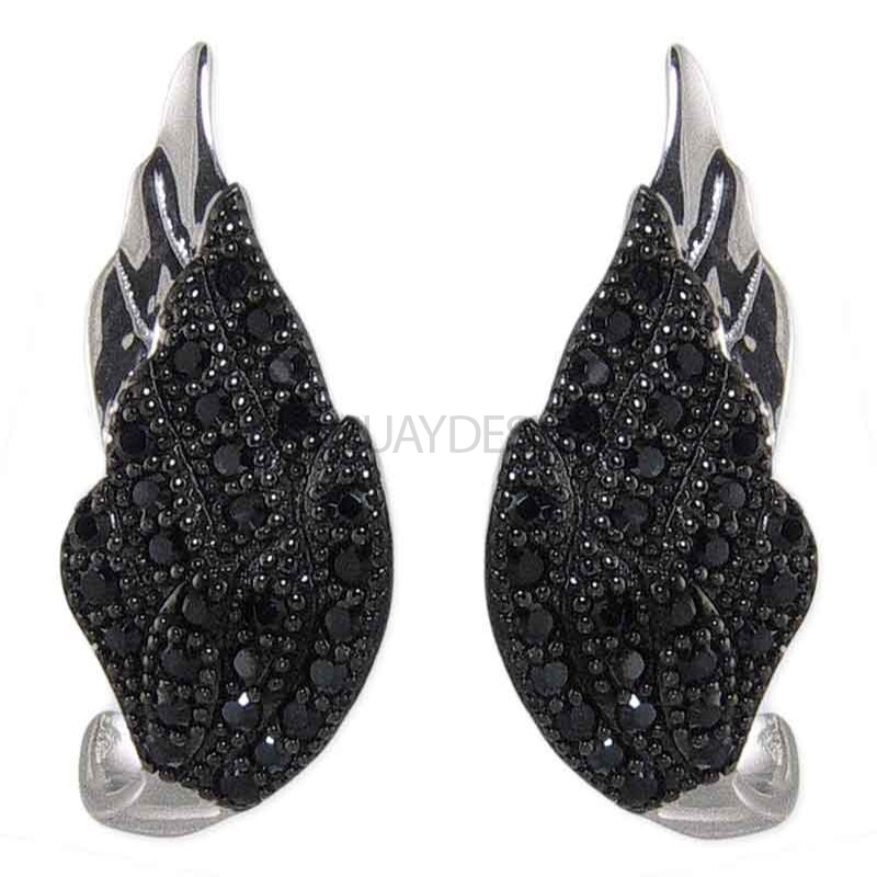 Women's Winged Desire Black Earrings