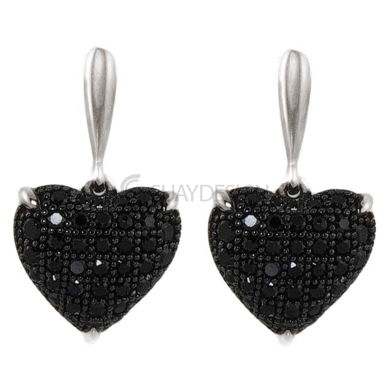 Women's Innocence Black Silver Earrings