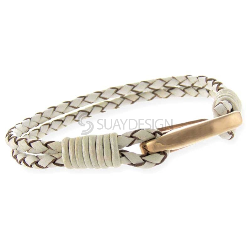Women's Orlando White Leather Bracelet