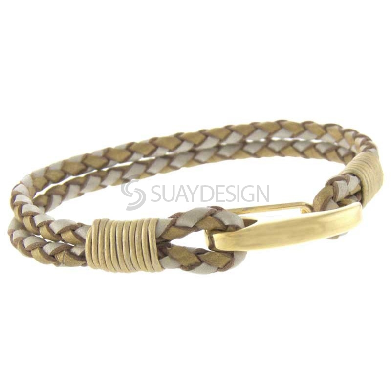 Women's Orlando Gold & Pearl Leather Bracelet