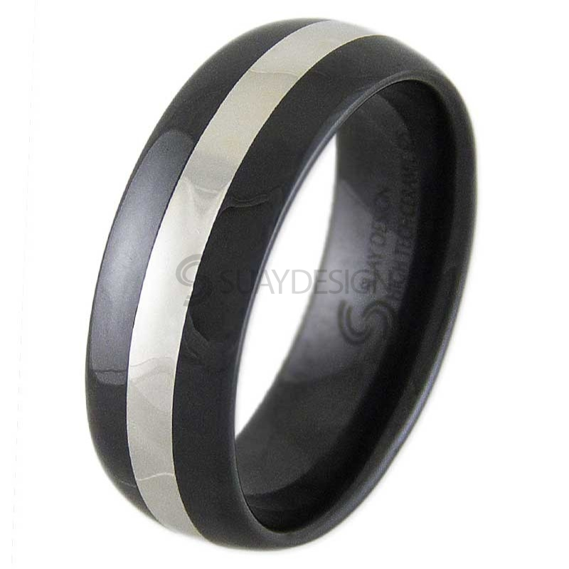 Thrill Silver & Black Ceramic Ring