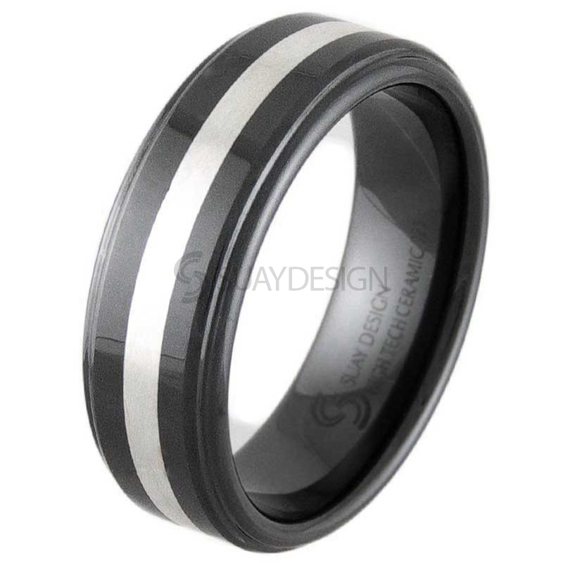 Hurricane Silver & Black Ceramic Ring