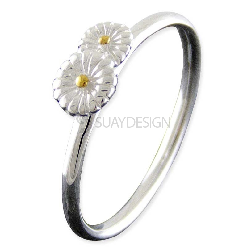 Women's Silver Daisy Stacking Ring