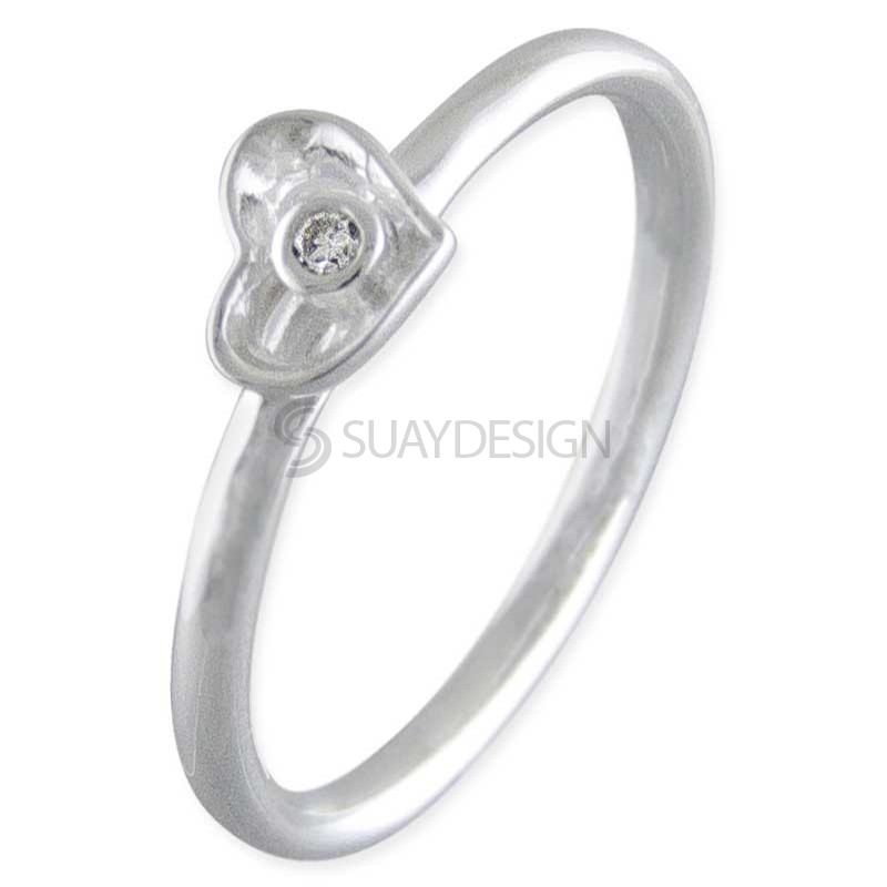 Women's Silver Heart Stacking Ring