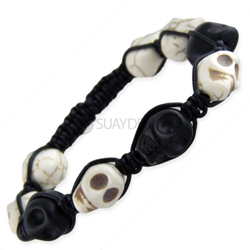 Alternative photo: Women's Skull Bracelet Black & White