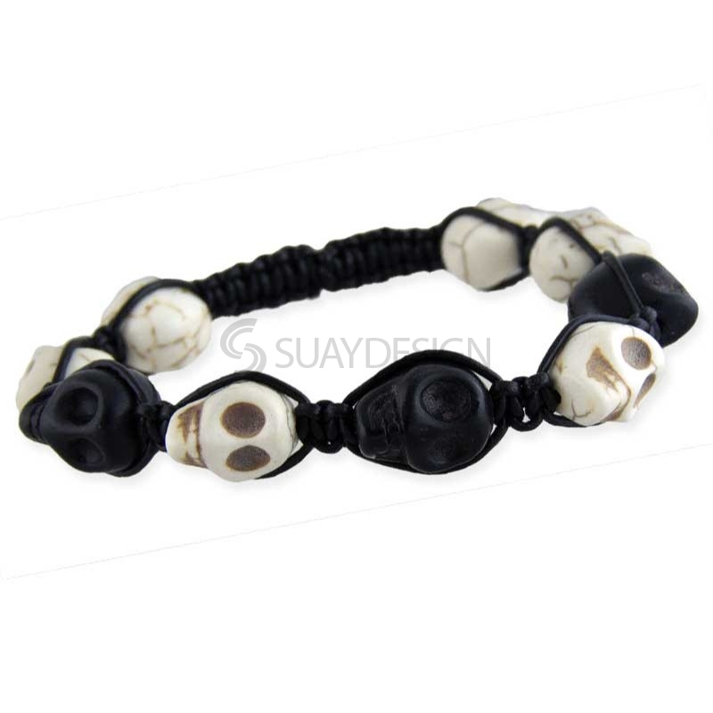 Women's Skull Bracelet Black & White