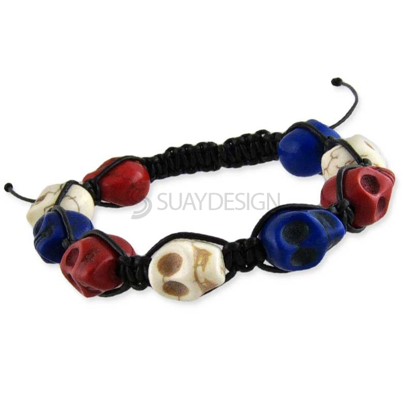 Women's Skull Bracelet Red White & Blue