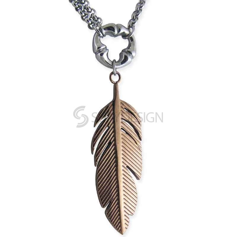 Women's Flare Steel Feather Necklace