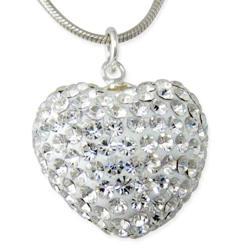 Women's Crystal Silver Heart