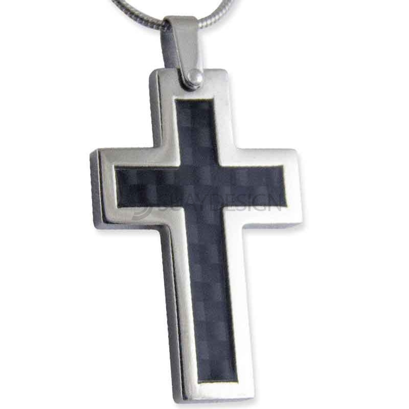 Carbon Cross Necklace