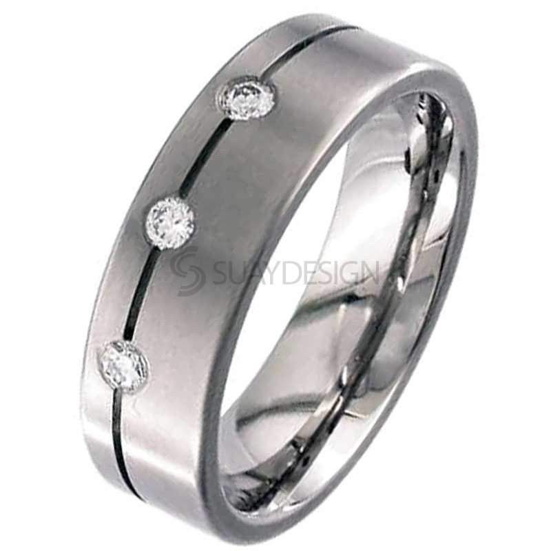 Flat Profile & Diamond Set Titanium Ring