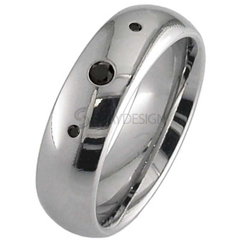 Women's Black Diamond Titanium Wedding Ring
