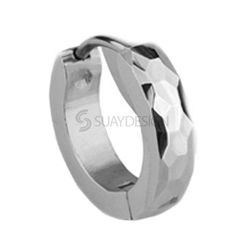 Slim Steel Facet Huggie Earring