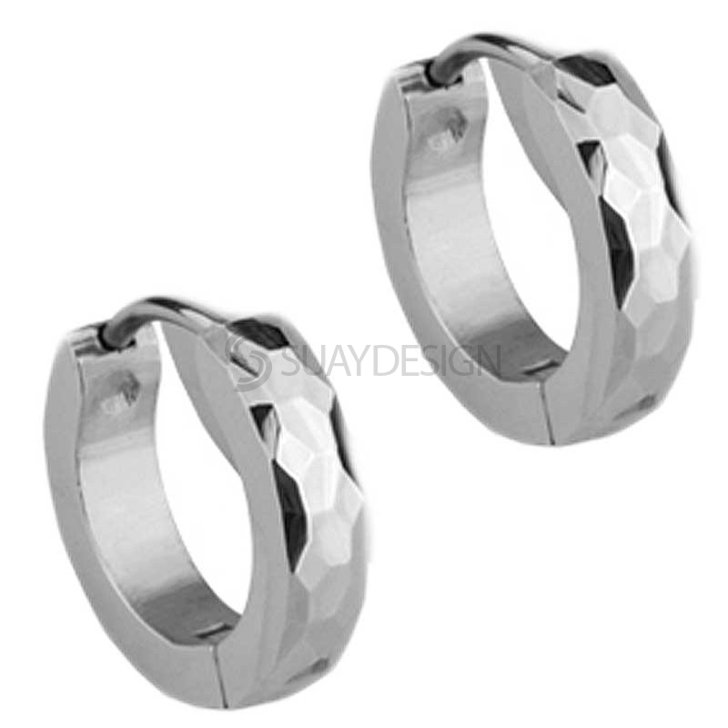 Women's Slim Steel Facet Huggie Earrings