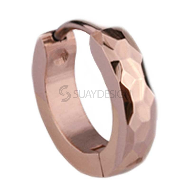 Slim Rose Gold Facet Huggie Earring