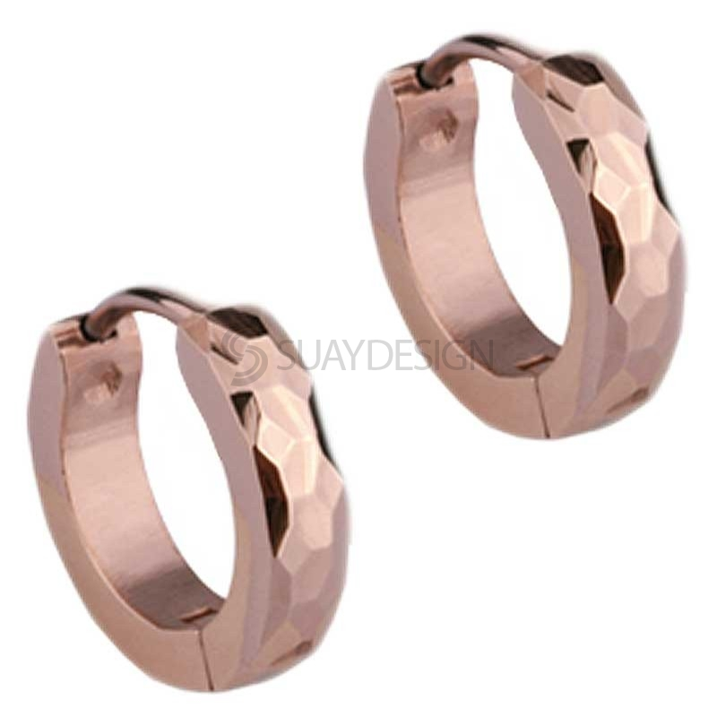 Women's Slim Rose Gold Facet Huggie Earrings