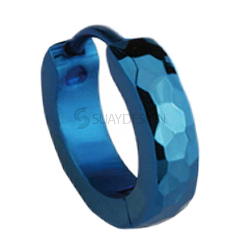 Slim Blue Facet Huggie Earring