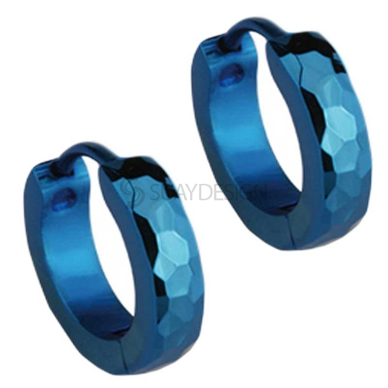 Slim Blue Facet Huggie Earrings