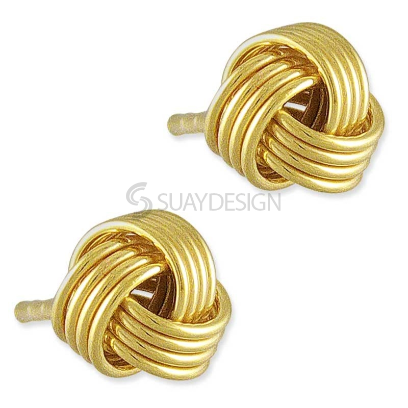 Silver Knot Gold Earrings