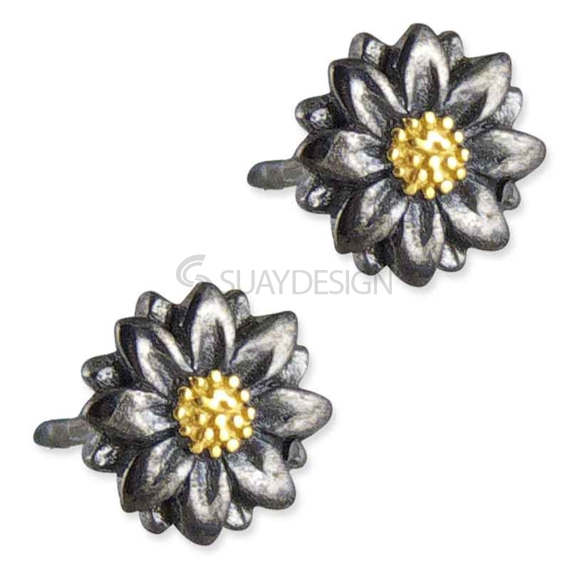 Women's Arianna Ebony & Gold Flower Earrings