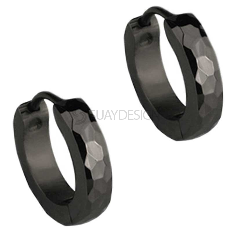 Women's Slim Black Facet Huggie Earrings