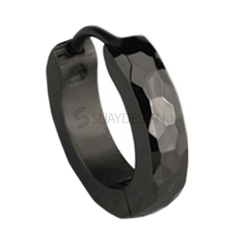 Slim Black Facet Huggie Earring
