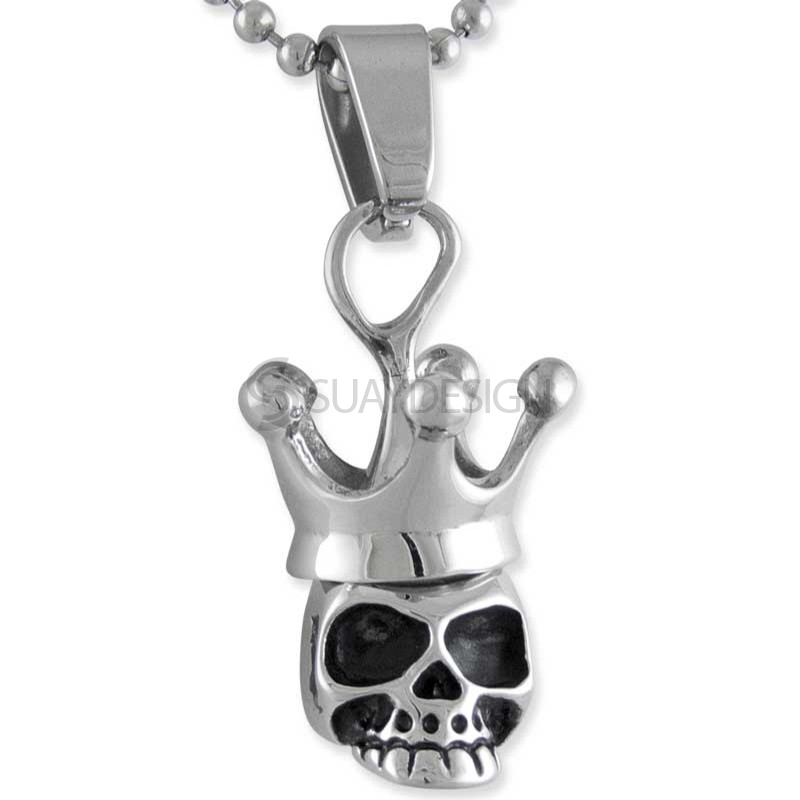 Women's Crowned Steel Skull Necklace