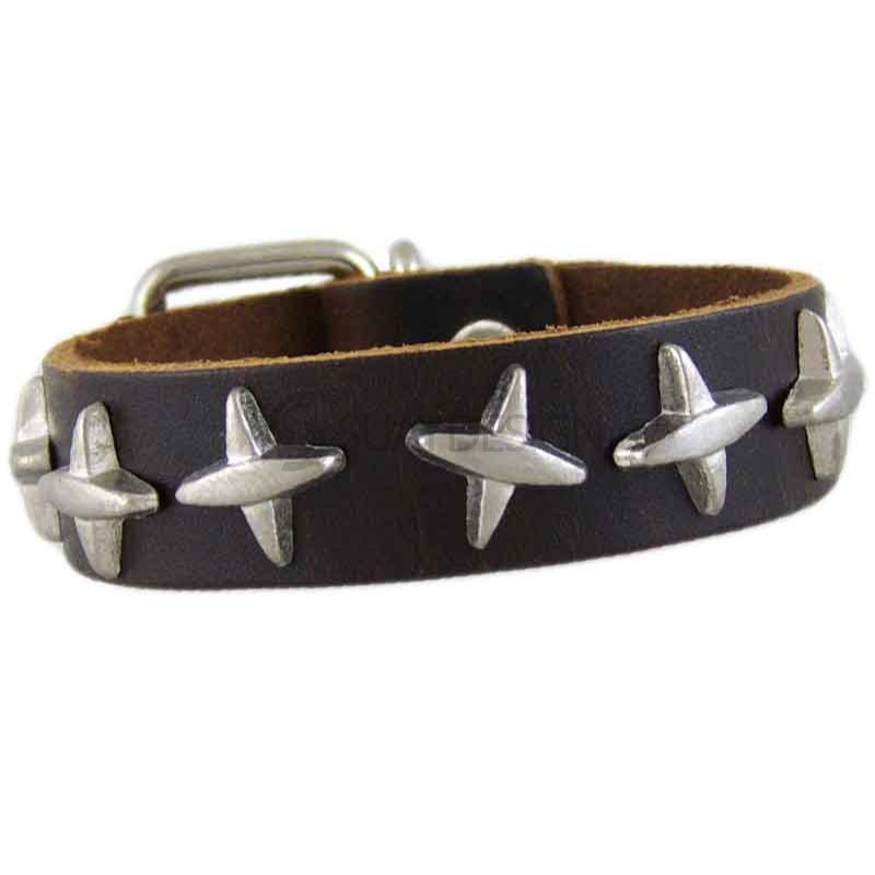 Women's Cross 042 Brown Leather Bracelet