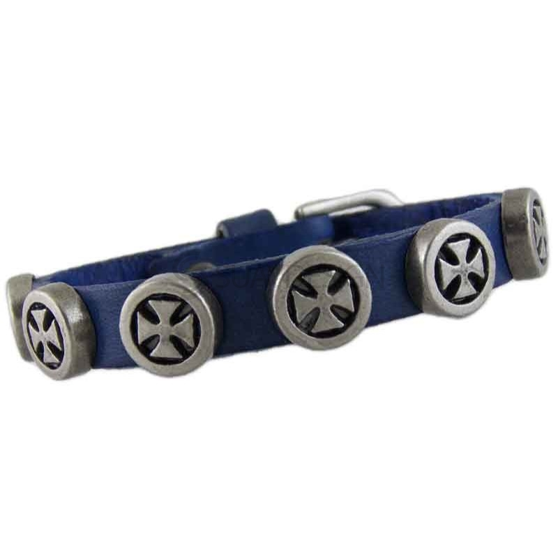Women's Cross 041 Blue Leather Bracelet