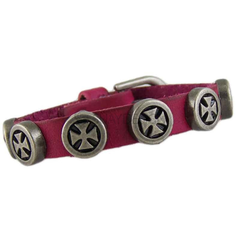 Women's Cross 041 Pink Leather Bracelet