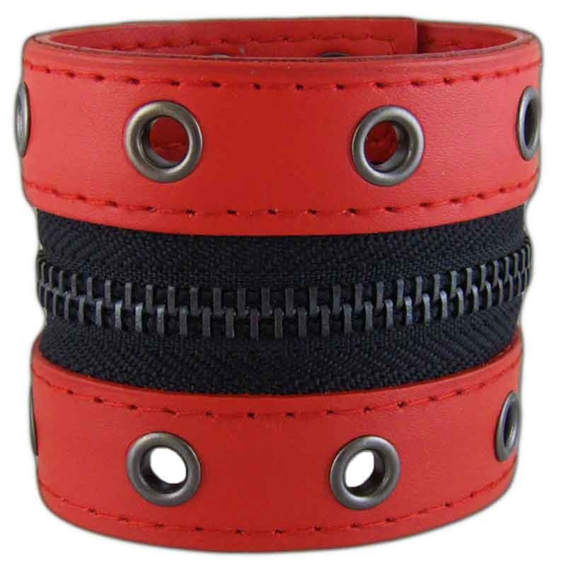 Women's Zipped 031 Red Leather Bracelet
