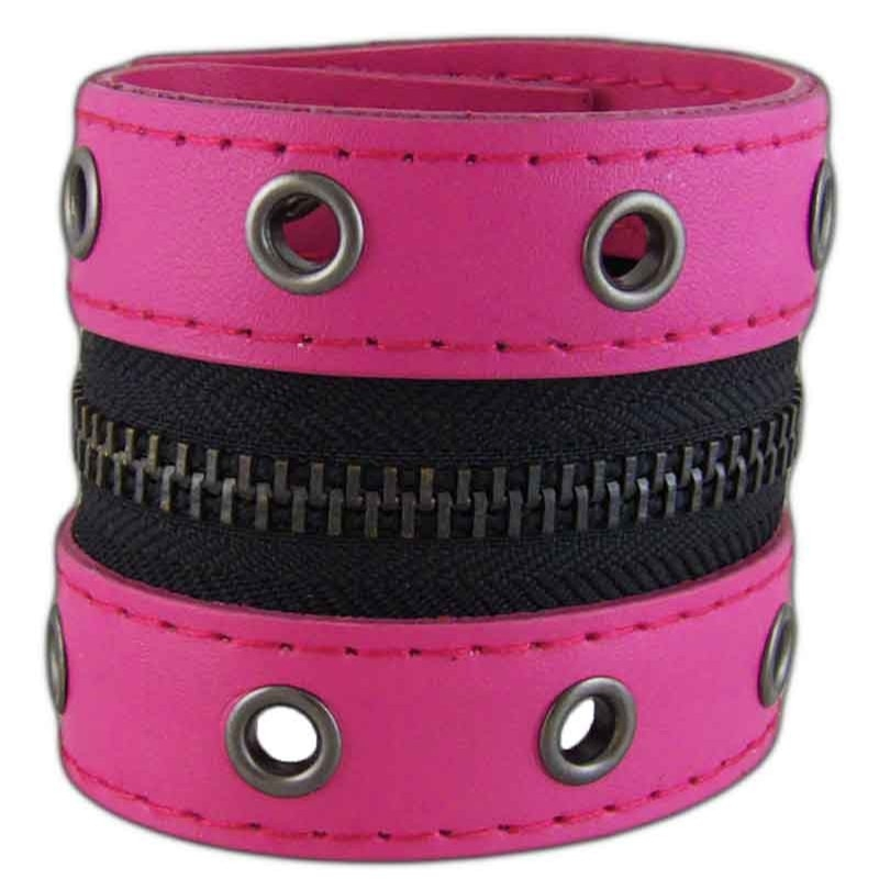 Women's Zipped 031 Pink Leather Bracelet