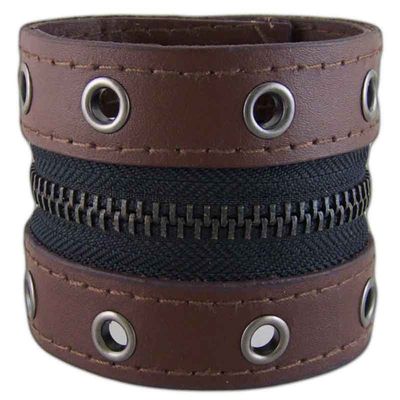 Women's Zipped 031 Brown Leather Bracelet