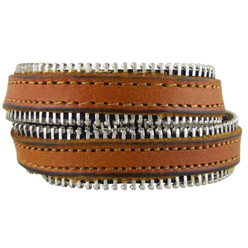 Women's Zipped 030 Tan Leather Bracelet