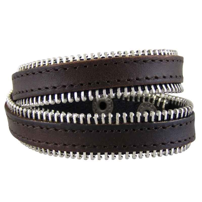 Women's Zipped 030 Brown Leather Bracelet