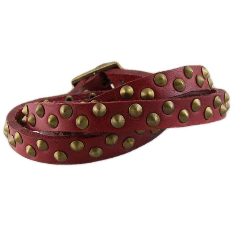 Studded Red Leather Bracelet 020