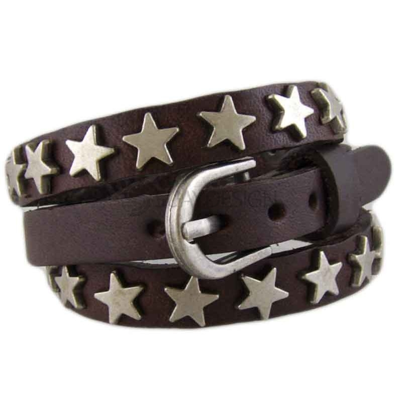 Star Brown Leather Bracelet 012
