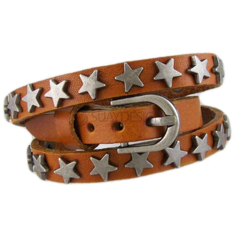 Women's Star Tan Leather Bracelet 012